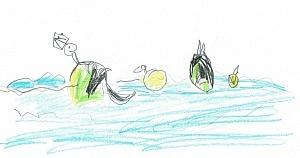 Nachher: Enten auf dem See (eine gründelnd), nach kurzer Instruktion