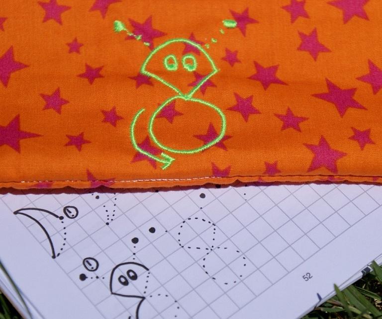 Marsmännchen orange Stickerei
